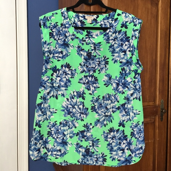 89aa2501ce6 J. Crew Tops - J.Crew Bright Green and Blue Floral Top